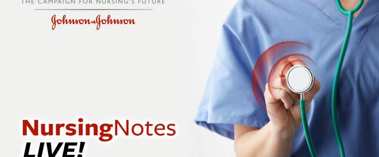 Nursing Notes Live promo banner with nurse in scrubs holding stethoscope