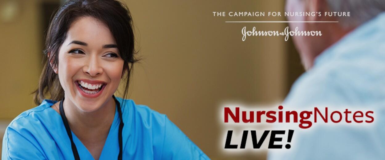 Nursing Notes Live promo banner with female nurse in scrubs smiling