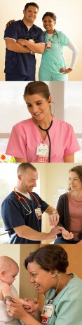Different images of multiple hospital scenes which include smiling nurses