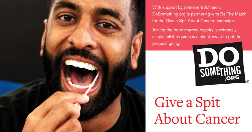 Give a Spit promo banner with information and image of smiling man swabbing his cheek