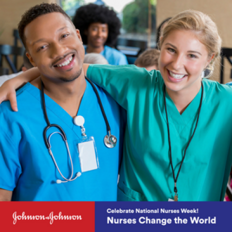 Nurses Change the World promo with male and female nurse in scrubs smiling