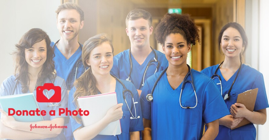 Group of smiling nurses in scrubs with Donate a Photo icon at the side of the image