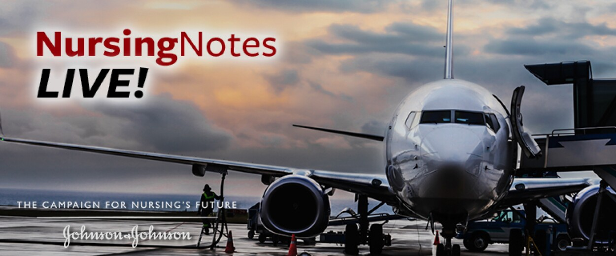 Nursing Notes Live promo banner with plane