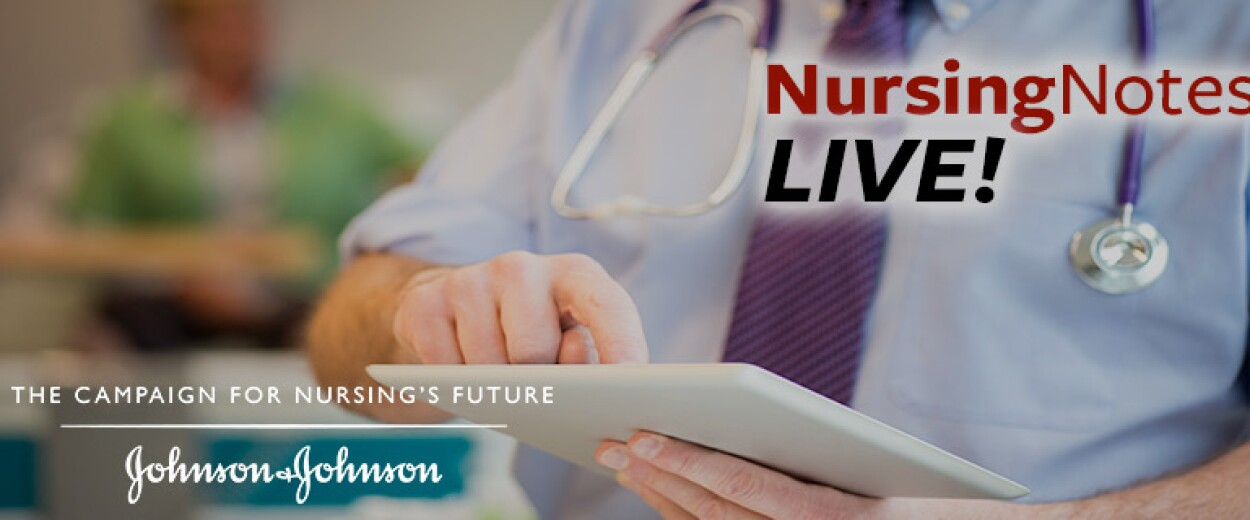 Nursing Notes Live promo banner with close up of male medical personnel using iPad