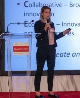 image of nurse innovator presenting during hackathon event