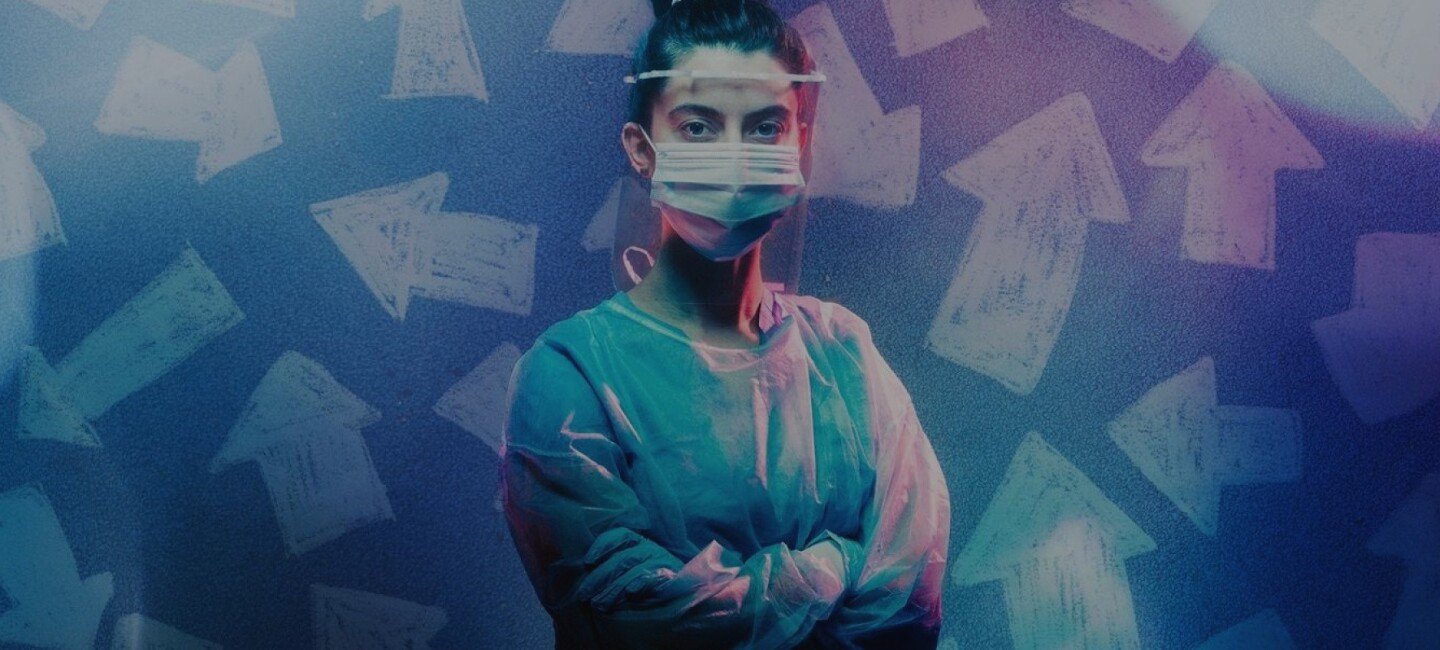 image of nurse with protective gear and face mask