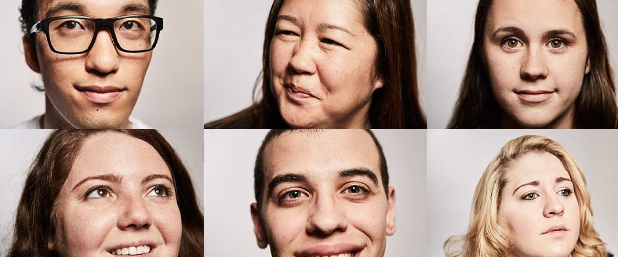 Six people with differing facial expressions