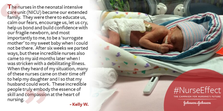 #NurseEffect promo banner with quote from Kelly W. and an image of a baby in NICU