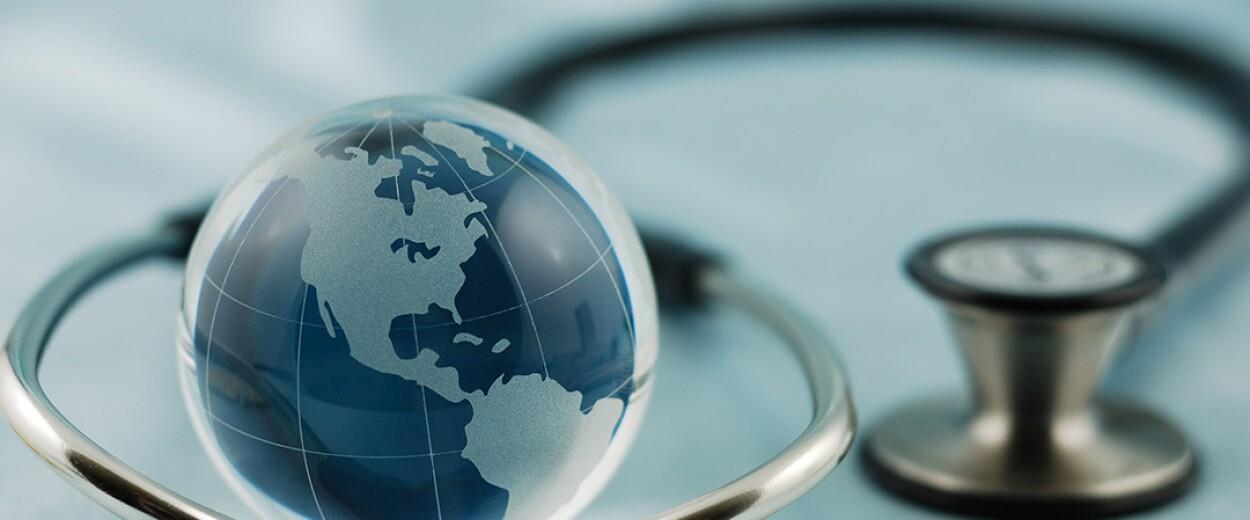 Image of stethoscope and globe