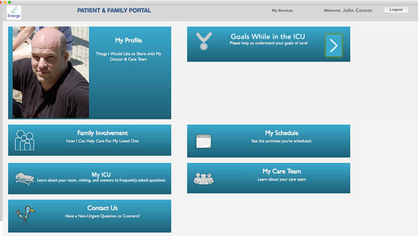 Screenshot of Patient and Family portal view for Emerge