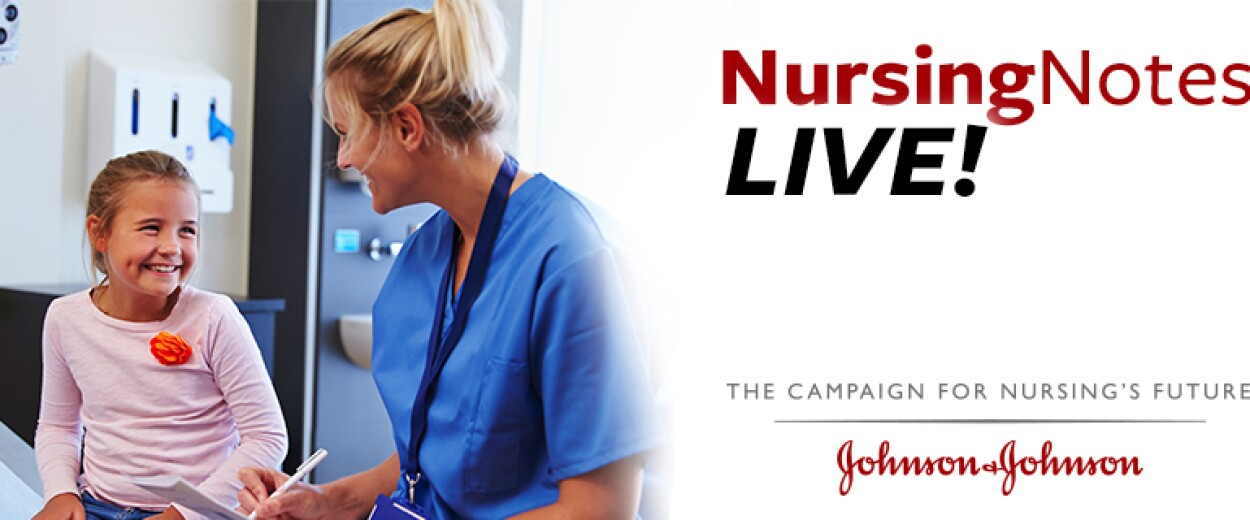 Nursing Notes Live promo banner with a female nurse in scrubs smiling at a young female patient