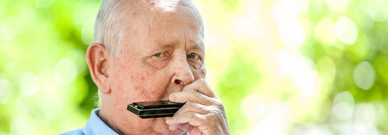 Elderly man playing the harmonica