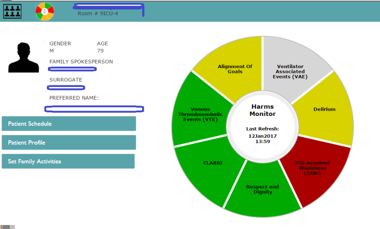 Screenshot of an example of a patient history screen