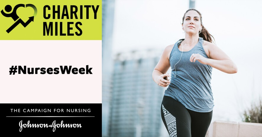 Charity Miles promo banner with woman running and smiling