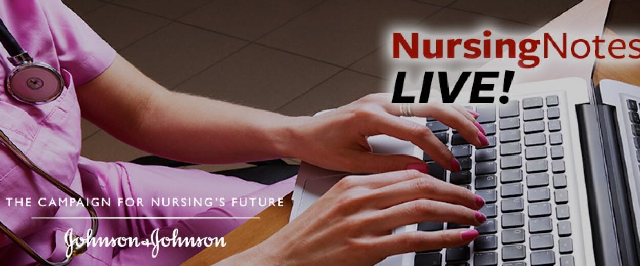 Nursing Notes Live promo banner female nurse in scrubs typing on computer